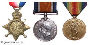 Three of the British campaign medals: The 1914-15 Star, British War Medal and the Victory Medal.